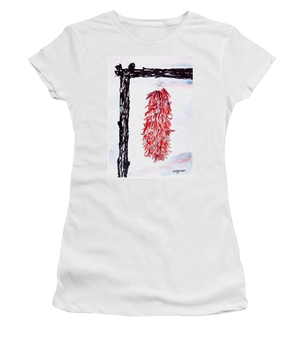 Watercolor Painting Women's T-Shirt (Athletic Fit) featuring the painting Hatch Texas Chili Pepper Painting by Derek Mccrea