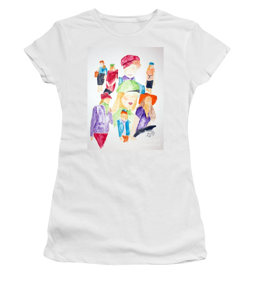 Hats Women's T-Shirt (Athletic Fit) featuring the painting Hats by Shelley Jones