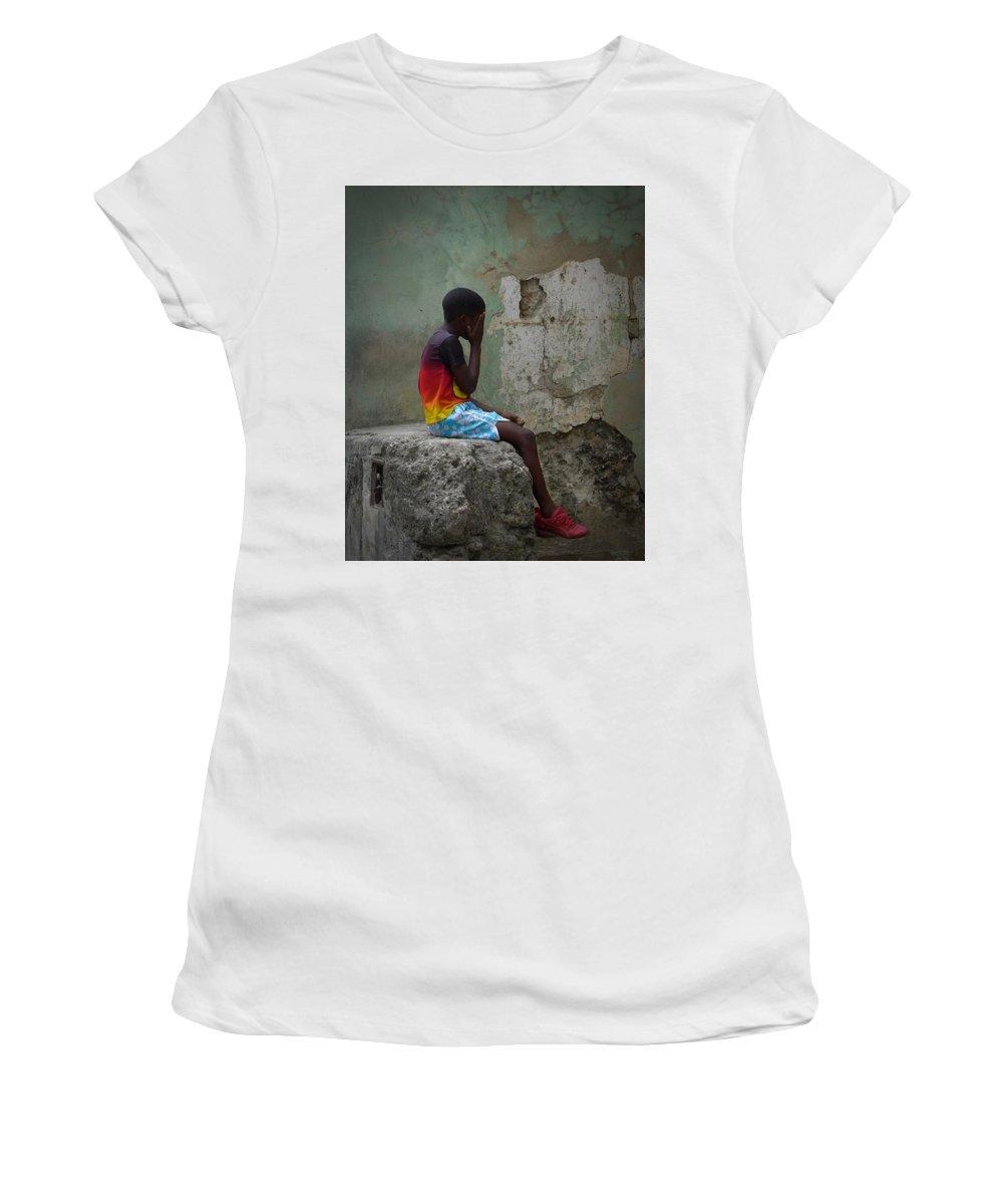 Havana Cuba Women's T-Shirt featuring the photograph Havana Boy by Cheryl Kurman