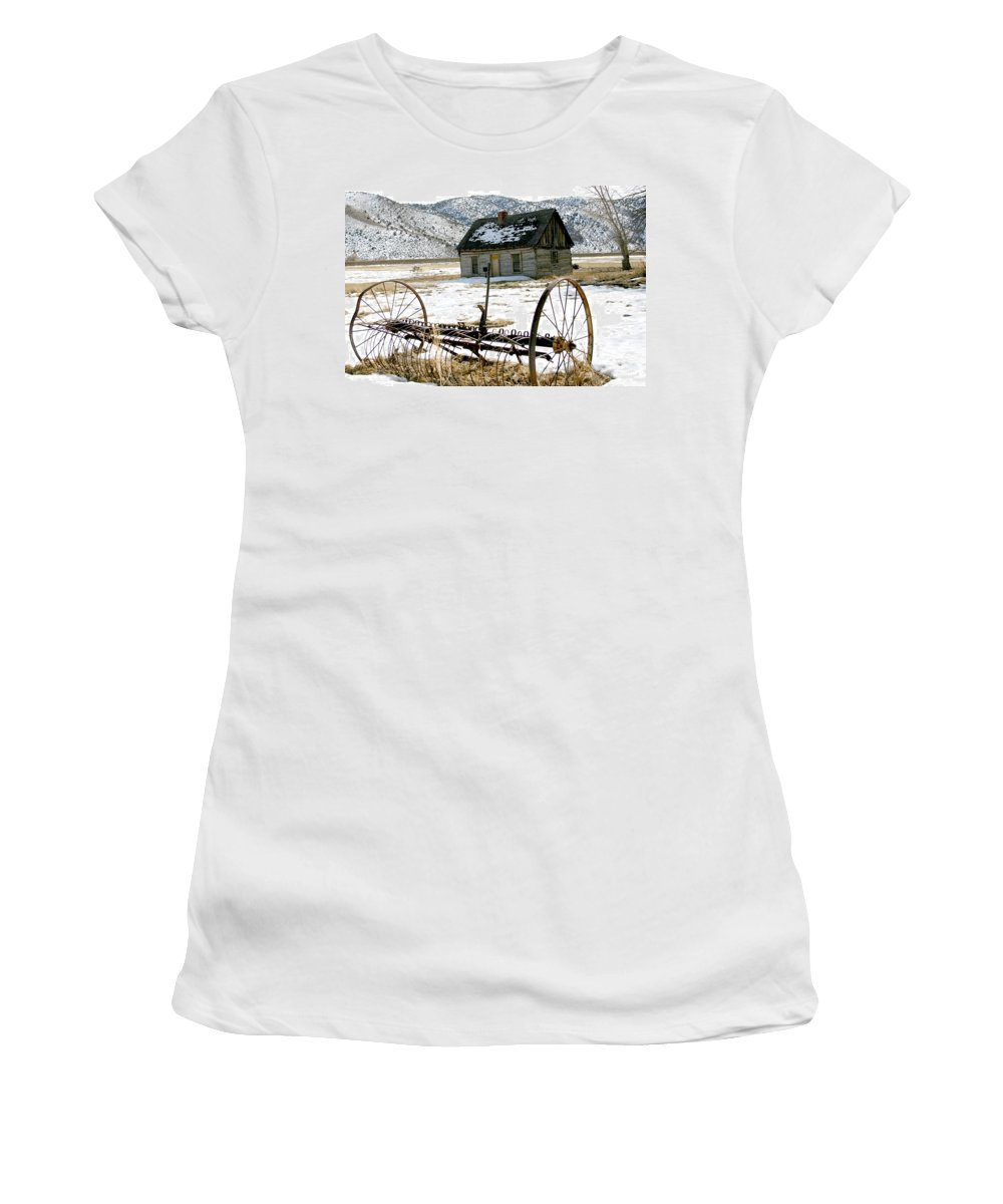 Utah Women's T-Shirt (Athletic Fit) featuring the photograph Hay Rake At Butch Cassidy by Nelson Strong