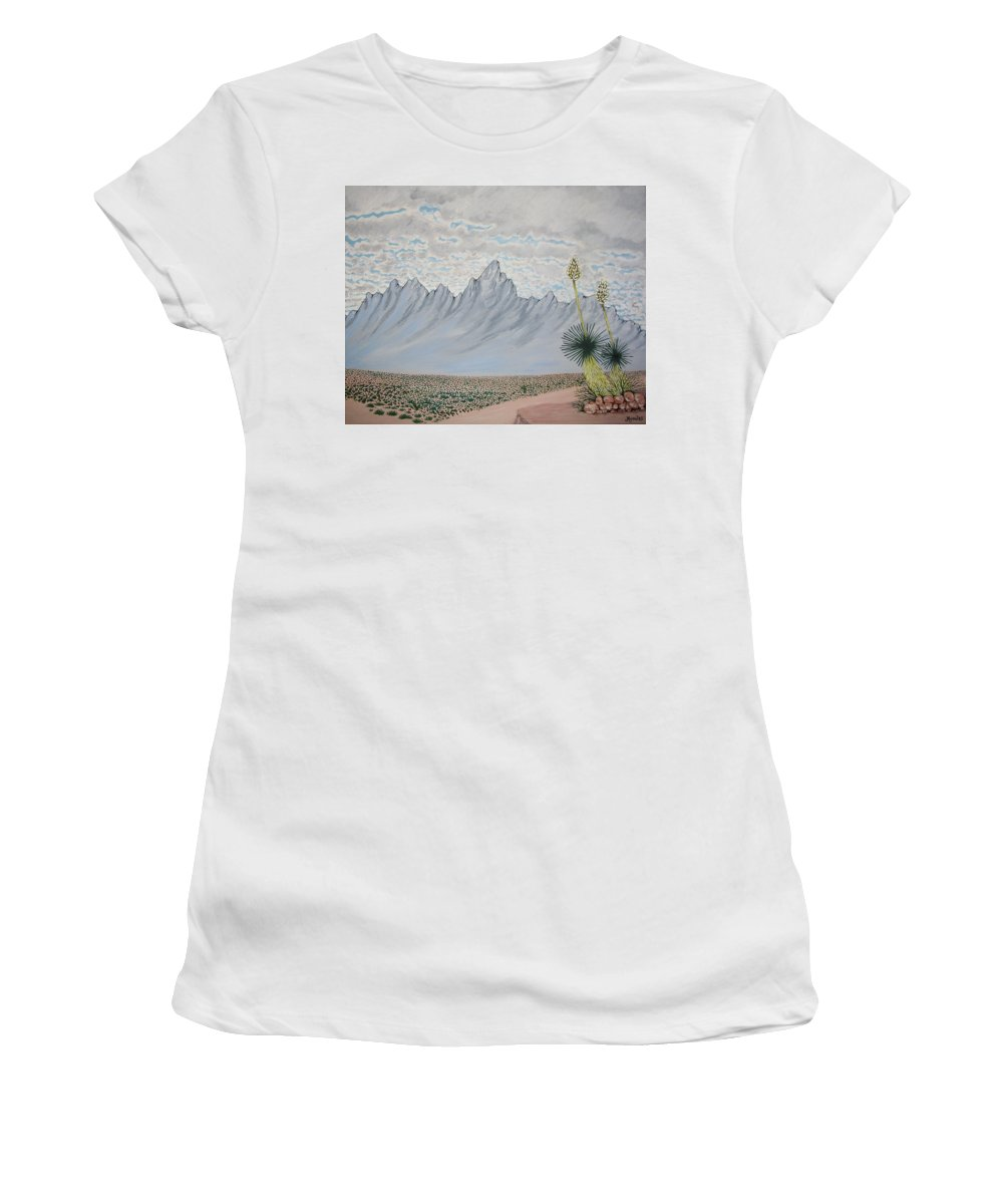 Desertscape Women's T-Shirt (Athletic Fit) featuring the painting Hazy Desert Day by Marco Morales