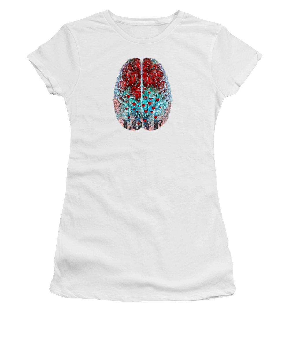 Love Women's T-Shirt featuring the painting Heart Art - Think Love - By Sharon Cummings by Sharon Cummings
