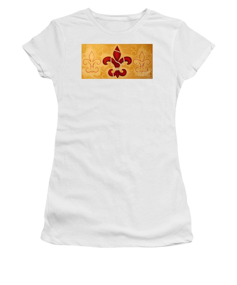 Fleur De Lis Women's T-Shirt (Athletic Fit) featuring the painting Heart Of New Orleans by Valerie Carpenter