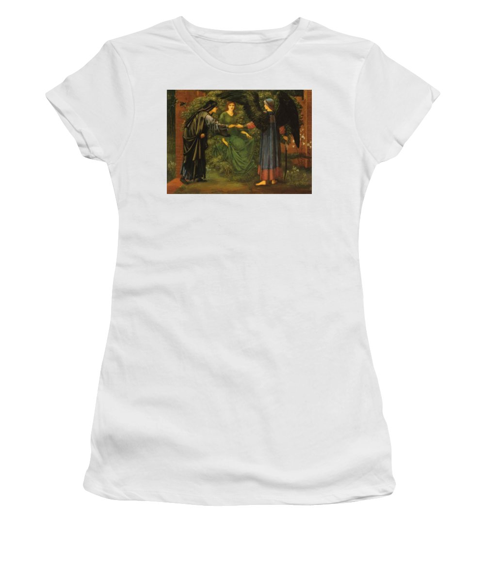 Heart Women's T-Shirt (Athletic Fit) featuring the painting Heart Of The Rose 1889 by BurneJones Edward