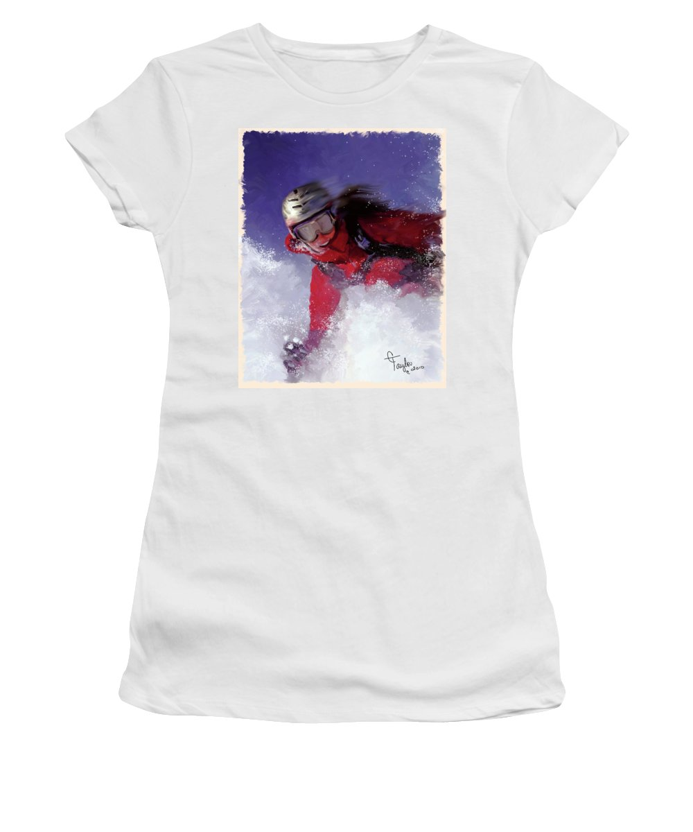 Ski Women's T-Shirt featuring the painting Hell Bent For Powder by Colleen Taylor