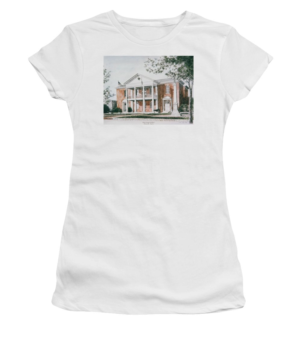 Custom Art Pen And Ink And Watercolor Women's T-Shirt (Athletic Fit) featuring the painting Henry County Courthouse by Maggie Clark