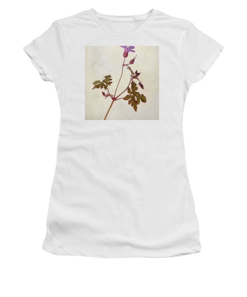 Beautiful Women's T-Shirt featuring the photograph Herb Robert - Wild Geranium  #flower by John Edwards