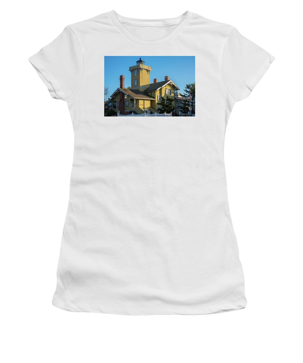 Hereford Inlet Women's T-Shirt (Athletic Fit) featuring the photograph Hereford Inlet Lighthouse by Bob Cuthbert
