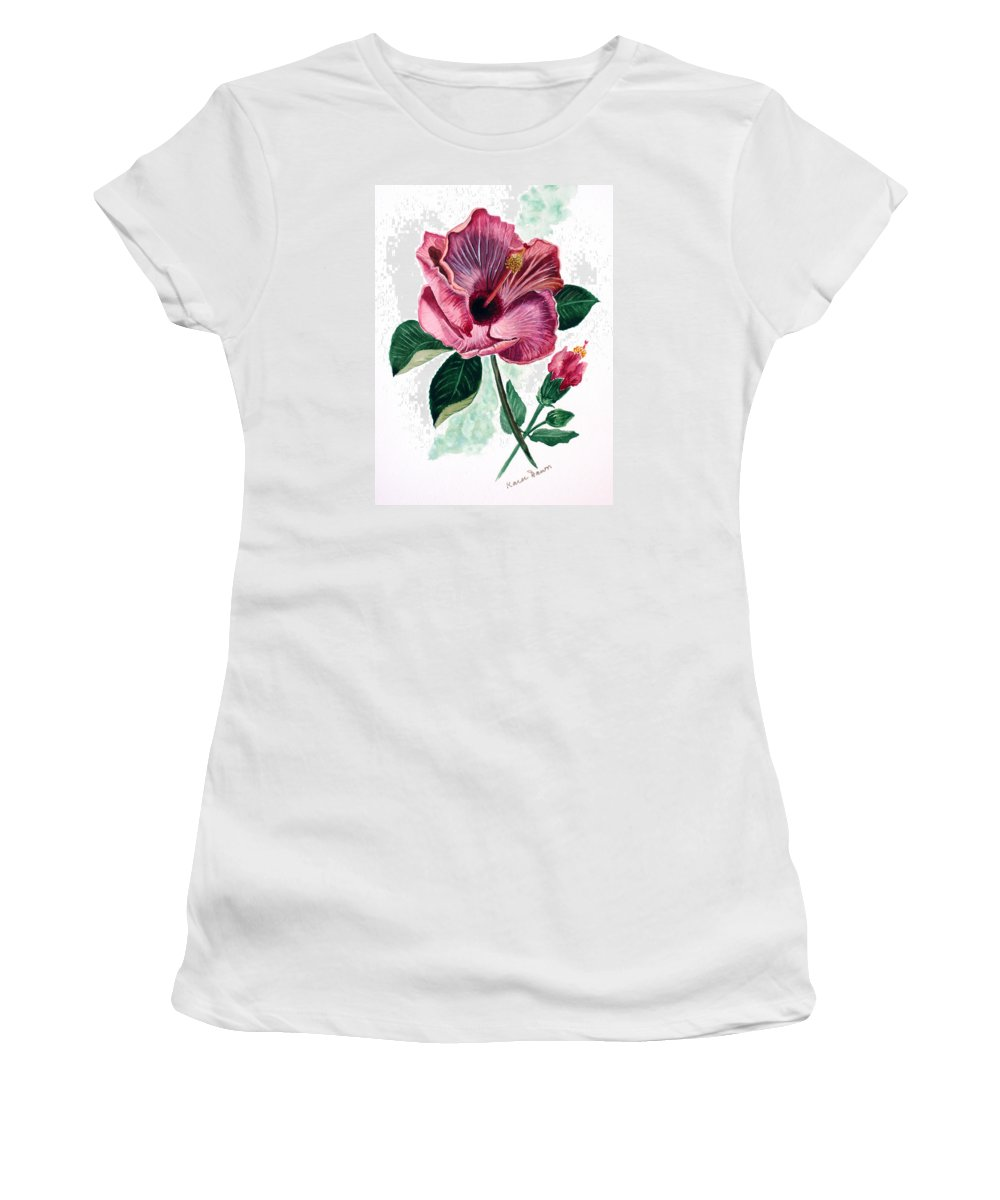 Flora Painting L Hibiscus Painting Pink Flower Painting Greeting Card Painting Women's T-Shirt (Athletic Fit) featuring the painting Hibiscus Dusky Rose by Karin Dawn Kelshall- Best