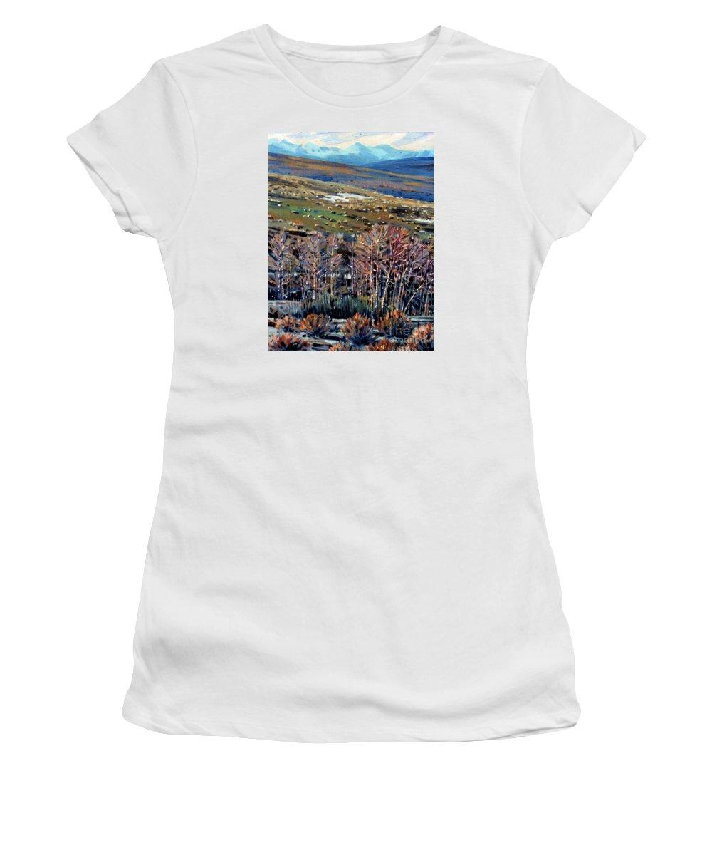 High Sierra Women's T-Shirt featuring the painting High Sierra by Donald Maier