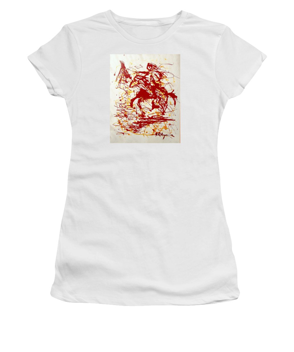 Indian Women's T-Shirt (Junior Cut) featuring the painting History In Blood by J R Seymour