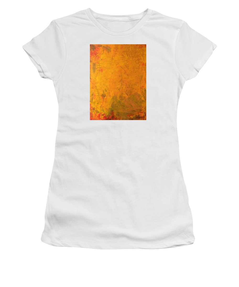 Abstract Art Women's T-Shirt (Athletic Fit) featuring the painting Hkf Yellow Planet Surface by John Dossman