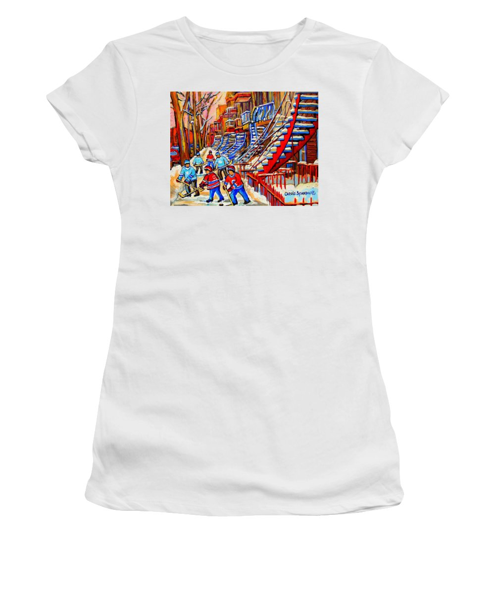 Montreal City Women's T-Shirt (Athletic Fit) featuring the painting Hockey Game Near The Red Staircase by Carole Spandau