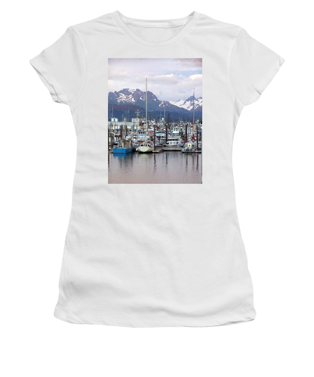 Homer Alaska Women's T-Shirt (Athletic Fit) featuring the photograph Homer Harbor by Marty Koch