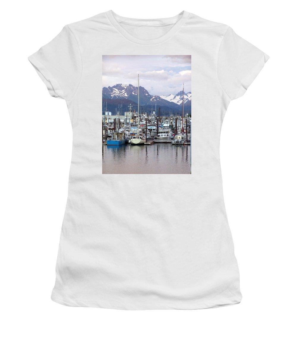 Homer Alaska Women's T-Shirt featuring the photograph Homer Harbor by Marty Koch