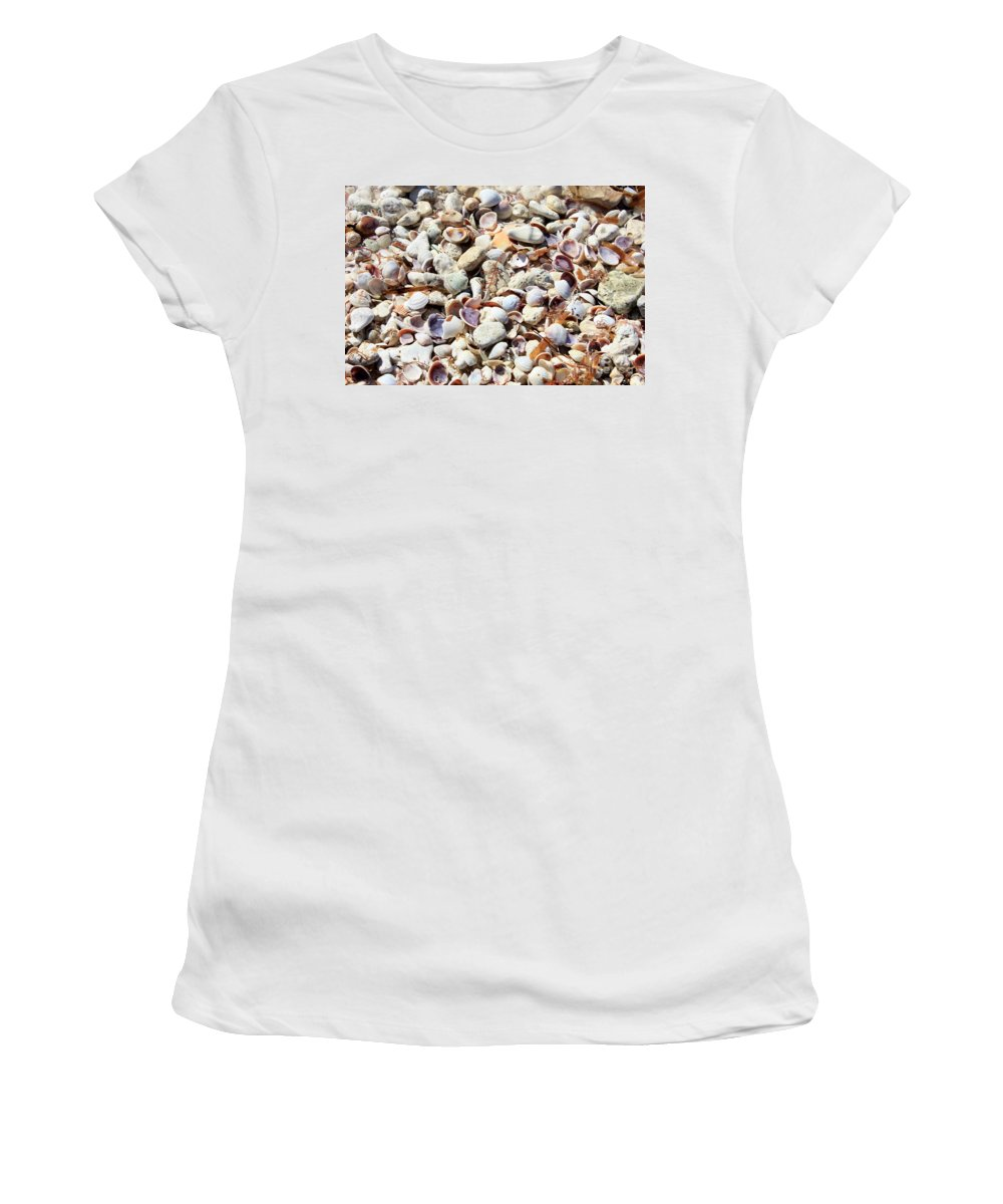Shells Women's T-Shirt featuring the photograph Honeymoon Island Shells by Carol Groenen