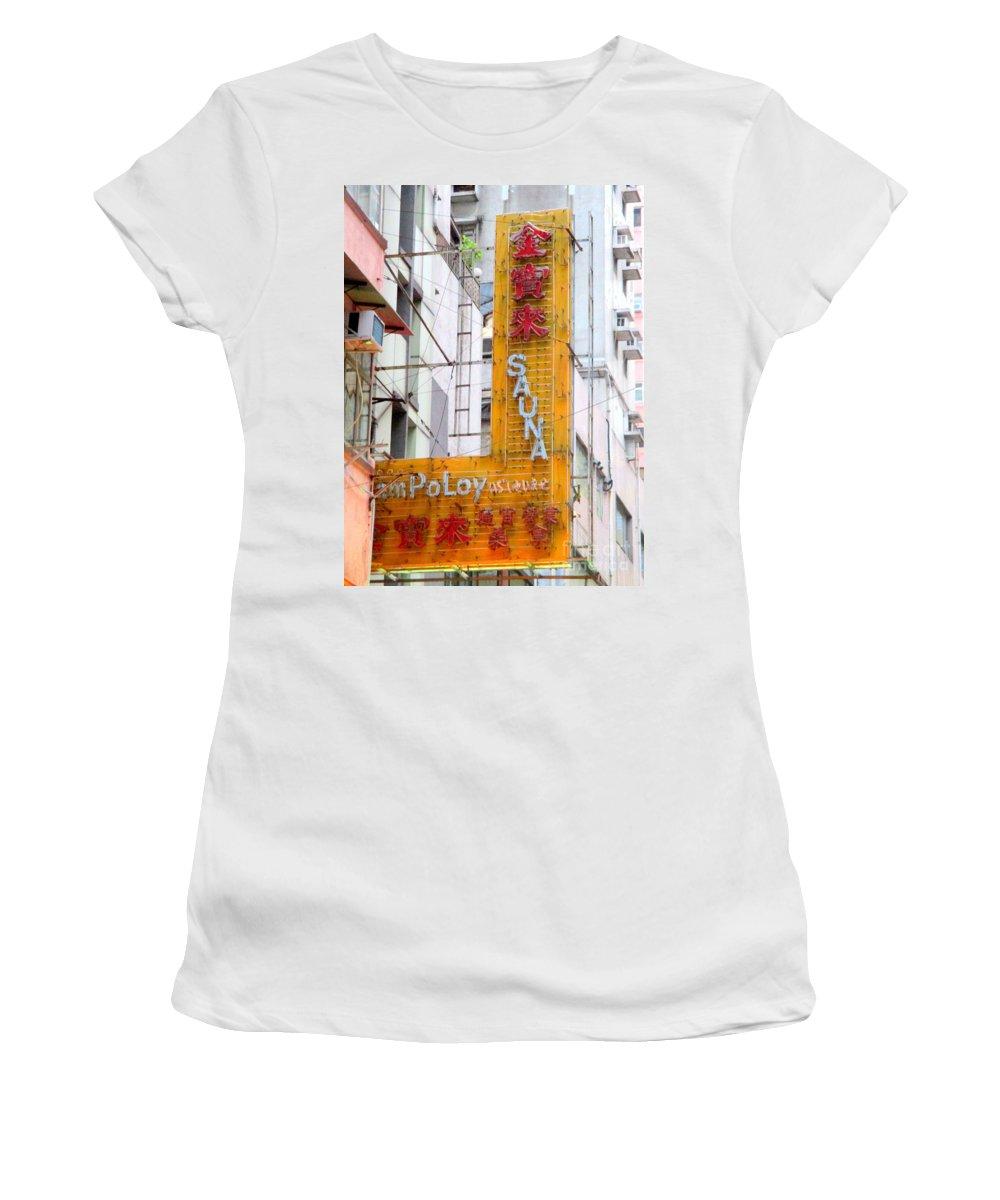 Hong Kong Women's T-Shirt (Athletic Fit) featuring the photograph Hong Kong Sign 11 by Randall Weidner