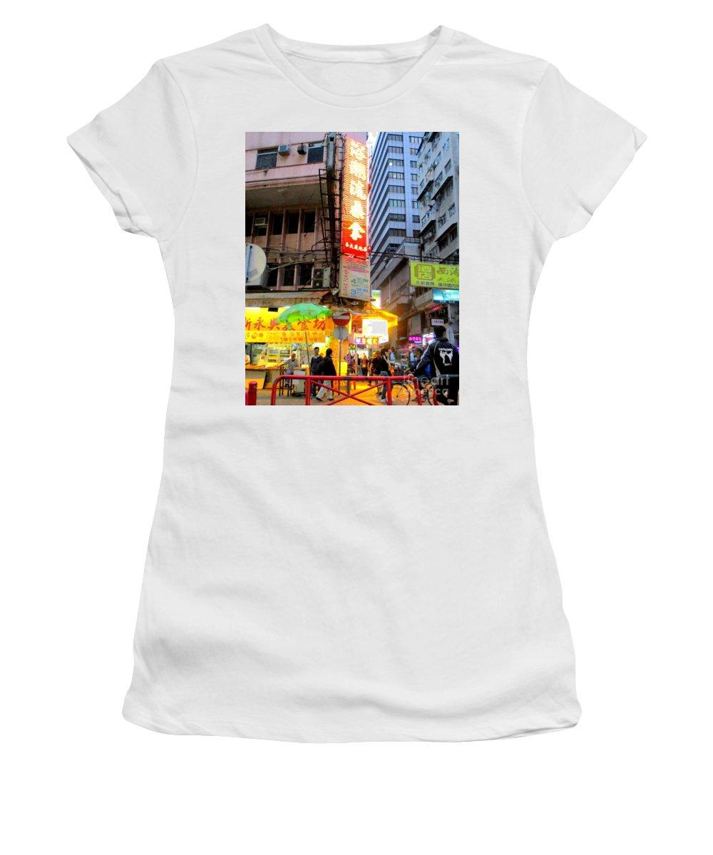 Hong Kong Women's T-Shirt (Athletic Fit) featuring the photograph Hong Kong Sign 13 by Randall Weidner