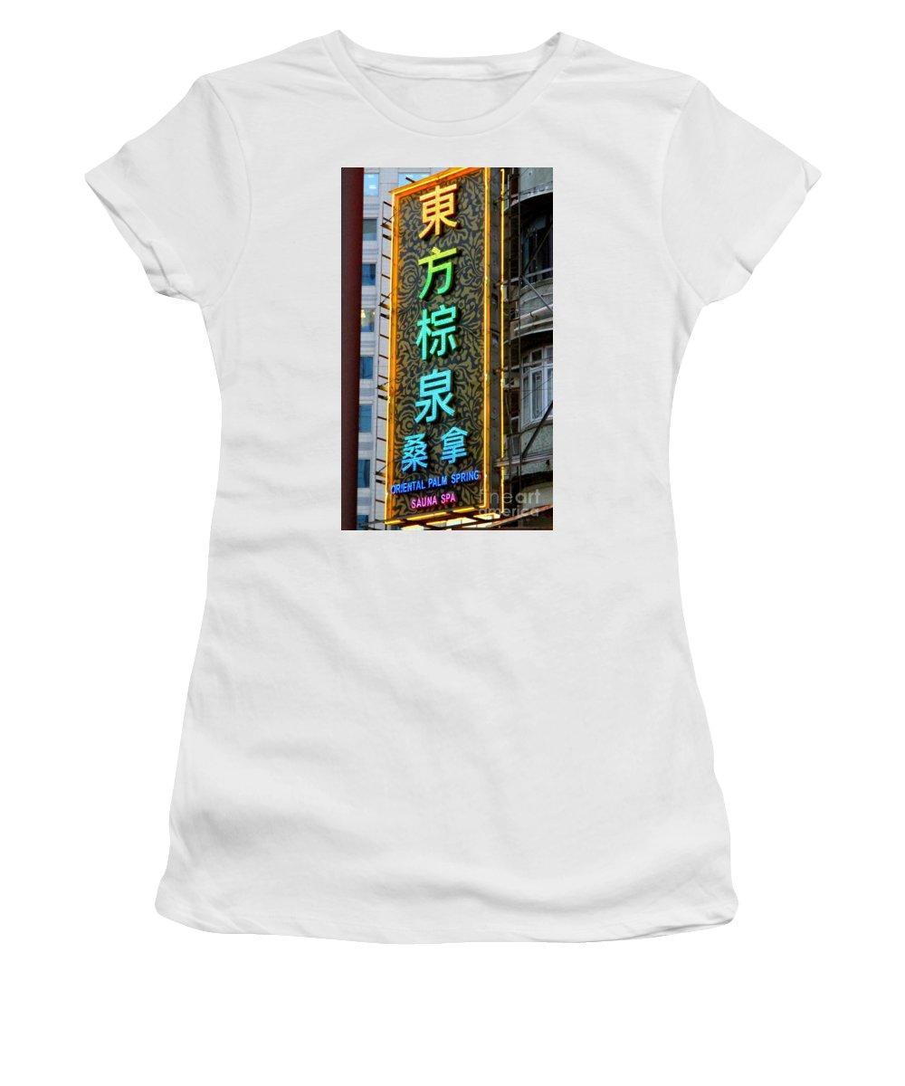 Hong Kong Women's T-Shirt (Athletic Fit) featuring the photograph Hong Kong Sign 15 by Randall Weidner