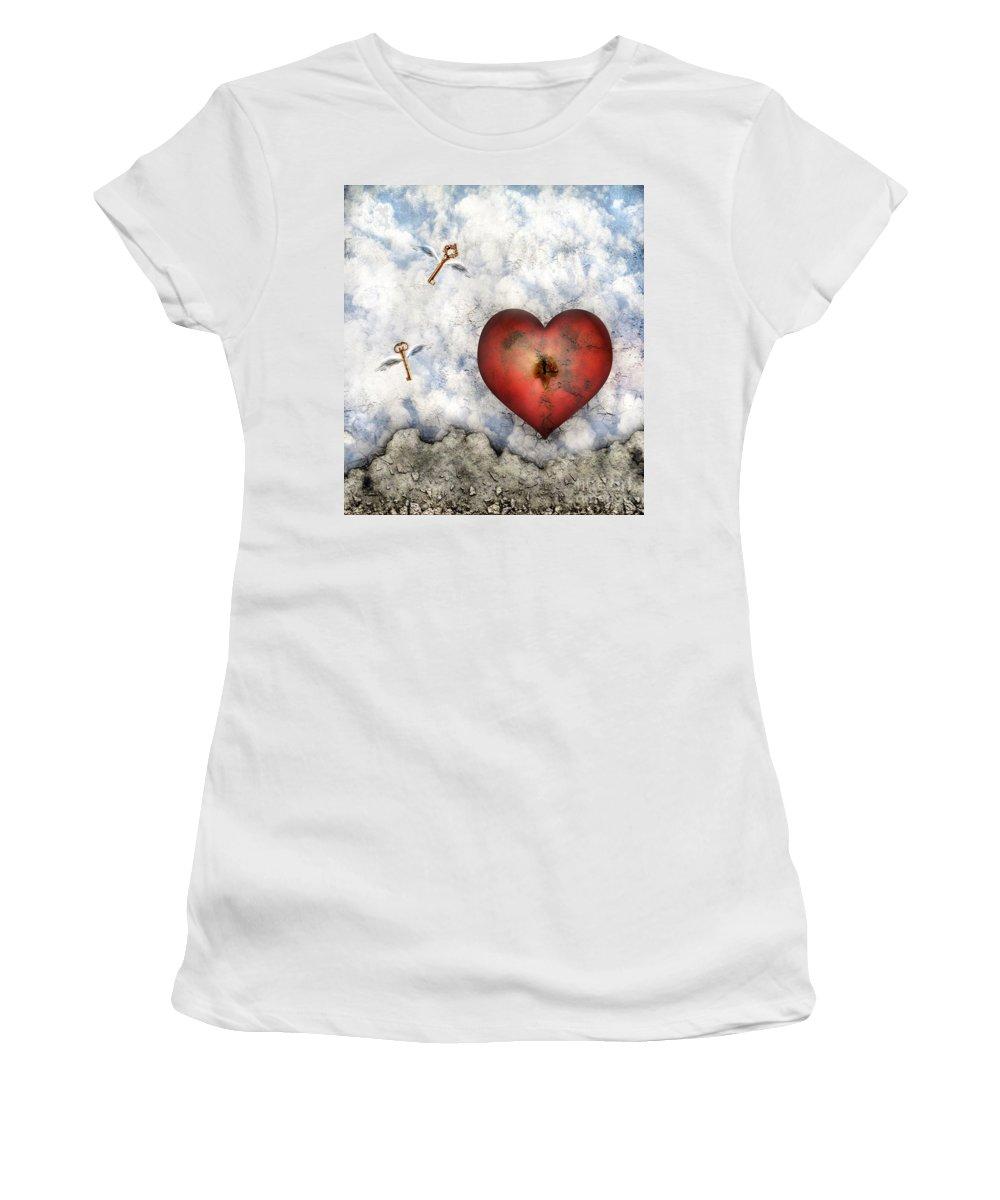 Heart Women's T-Shirt (Athletic Fit) featuring the digital art Hope Floats by Jacky Gerritsen