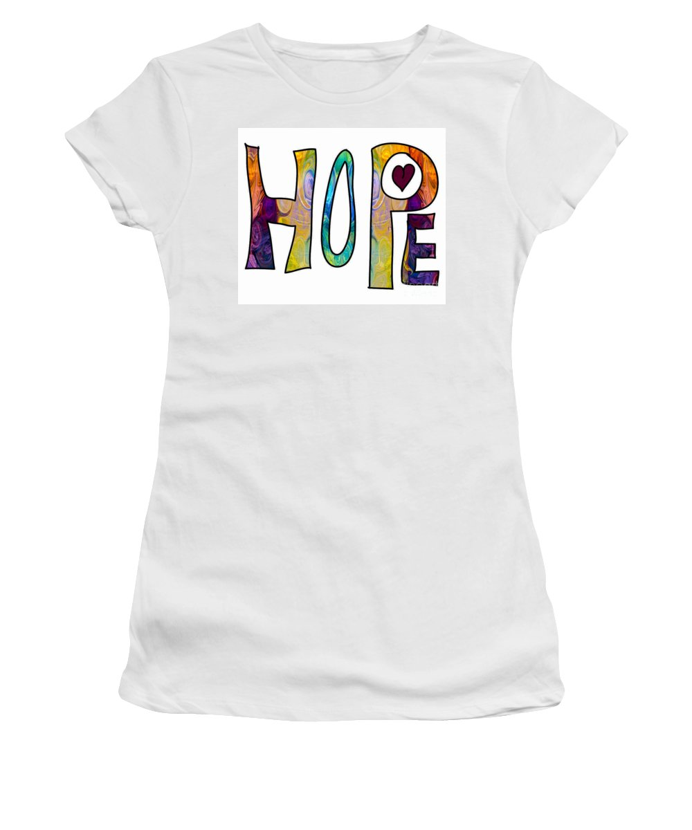 2015 Women's T-Shirt (Athletic Fit) featuring the digital art Hopeful Futures Abstract Inspirational Art By Omaste Witkowski by Omaste Witkowski