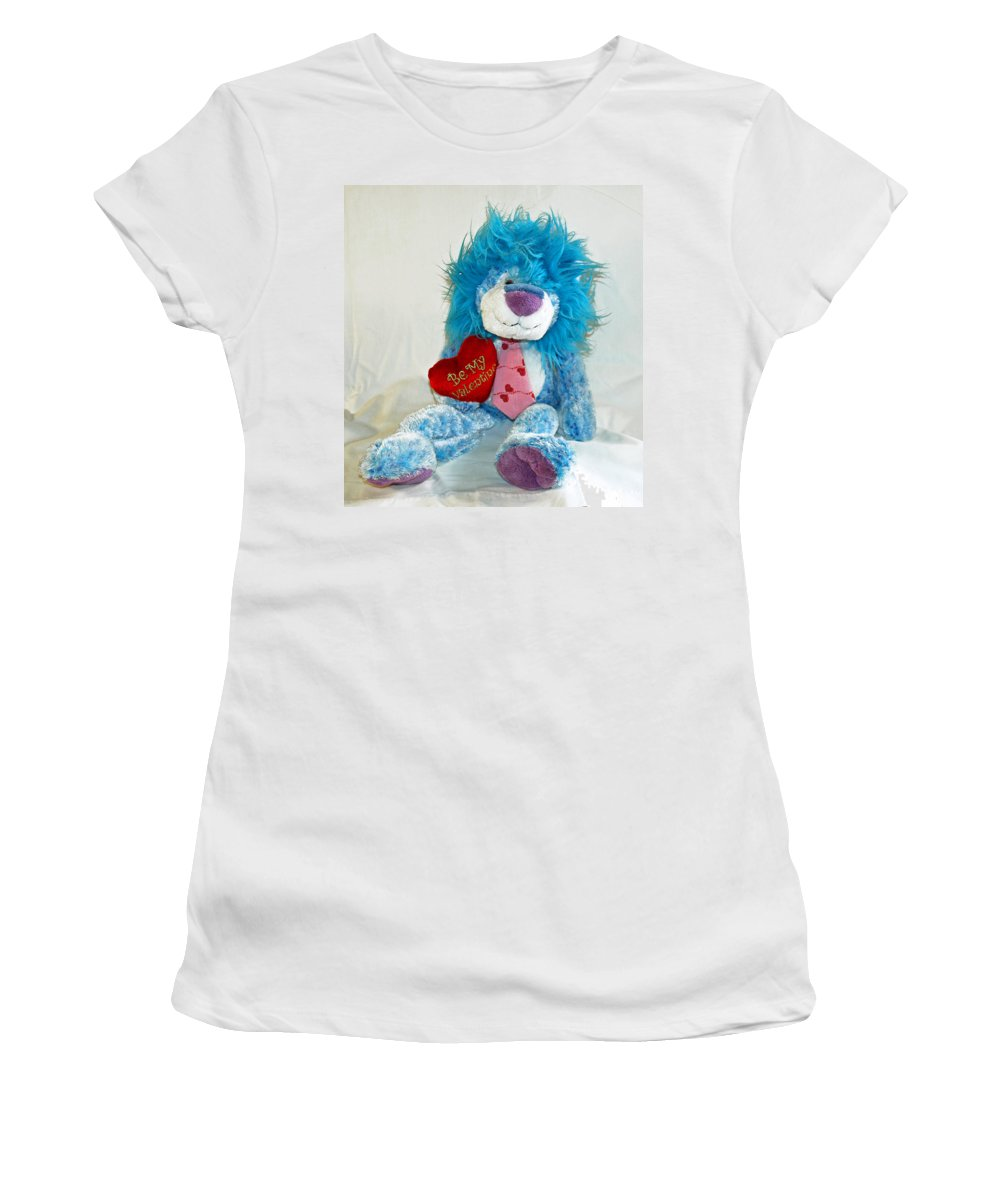 Love; Hope; Hoping; Man; Male; Lion; Blue; Stuffed; Animal; Heart; Valentine; Hopeful; Lover; Suitor Women's T-Shirt (Athletic Fit) featuring the photograph Hoping For Love by Allan Hughes