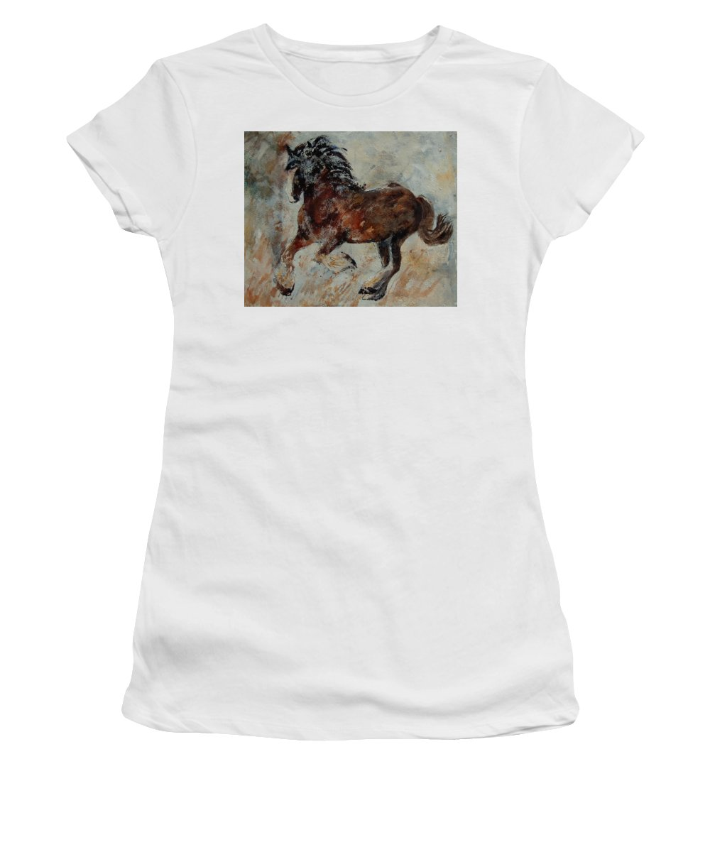 Animal Women's T-Shirt (Athletic Fit) featuring the painting Horse 561 by Pol Ledent