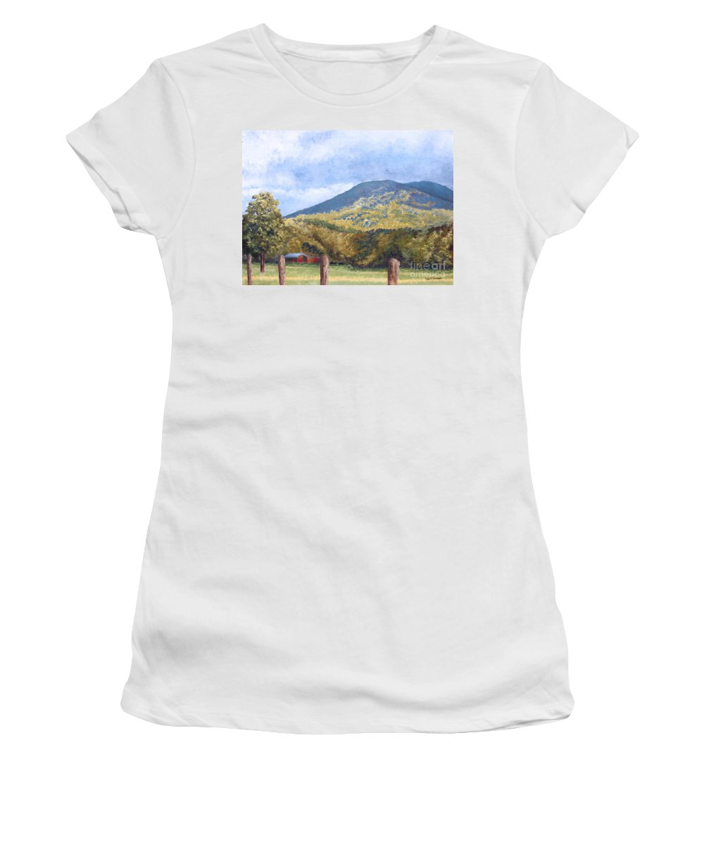 Landscape Women's T-Shirt (Athletic Fit) featuring the painting Horse Barn At Cades Cove by Todd Blanchard