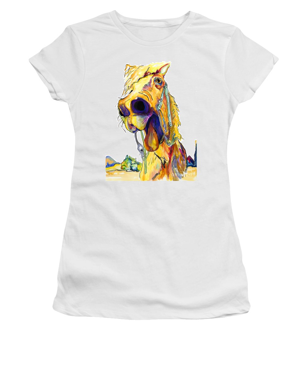Animal Painting Women's T-Shirt (Athletic Fit) featuring the painting Horsing Around by Pat Saunders-White