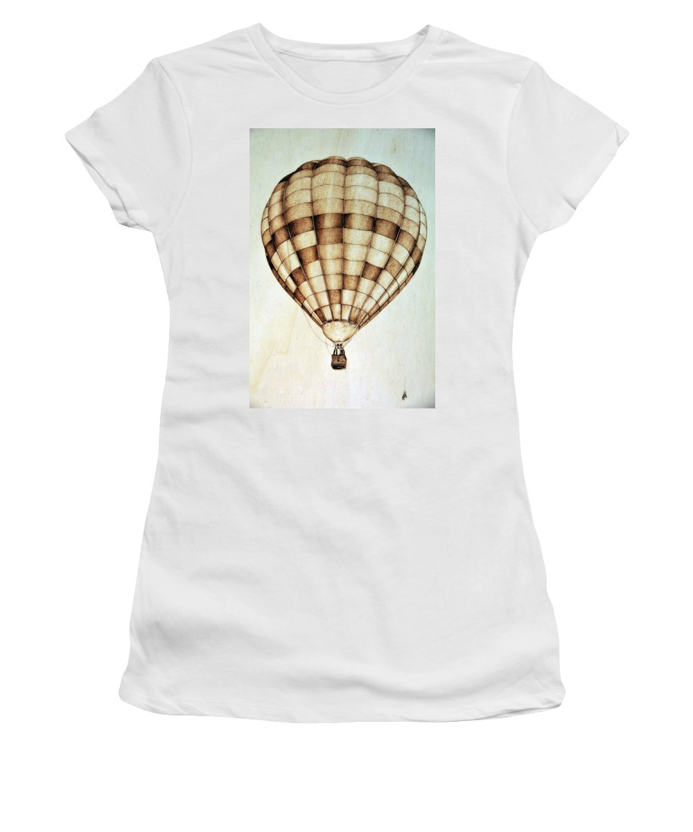 Hot Air Balloon Women's T-Shirt (Athletic Fit) featuring the pyrography Hot Air Balloon by Ilaria Andreucci