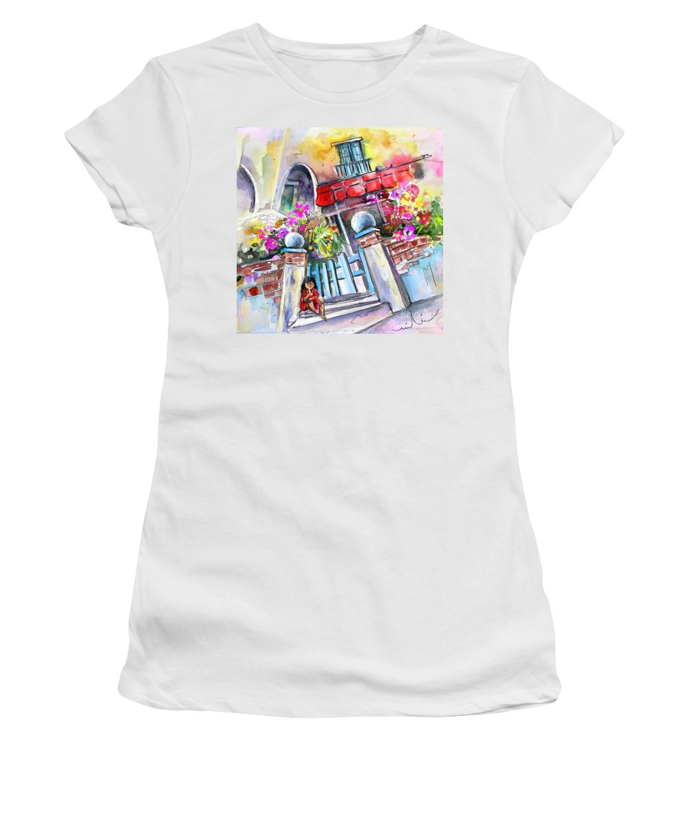 Garrucha Painting Women's T-Shirt (Athletic Fit) featuring the painting House Entrance In Garrucha by Miki De Goodaboom