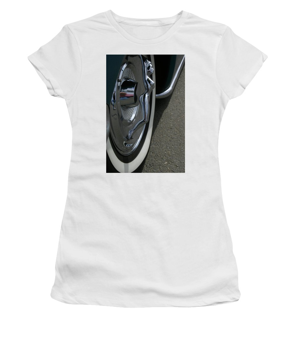 Car Show Women's T-Shirt (Athletic Fit) featuring the photograph Hub Cap Curves by Guy Shultz