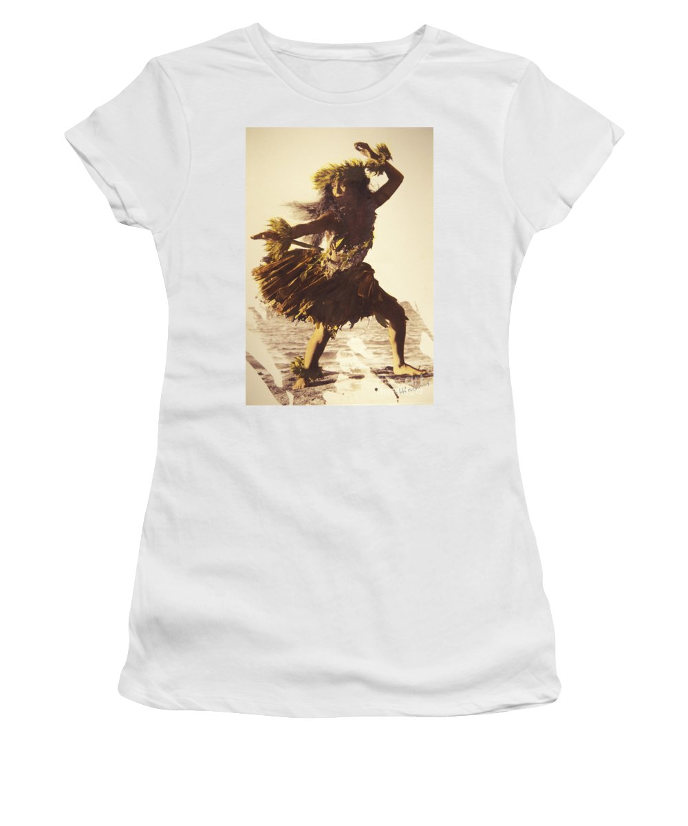 50-csm0217 Women's T-Shirt (Athletic Fit) featuring the photograph Hula In A Ti Leaf Skirt by Himani - Printscapes