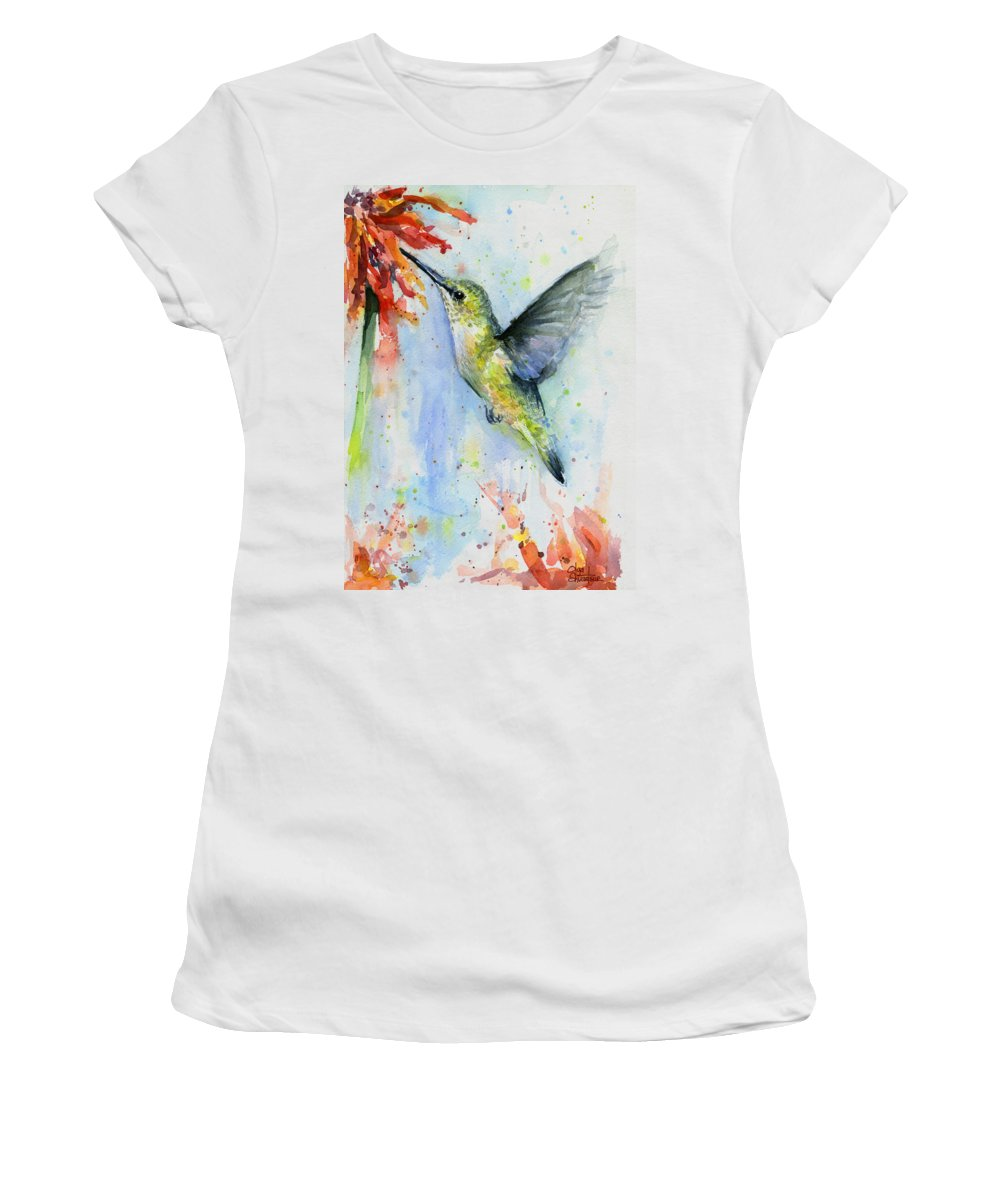 Watercolor Women's T-Shirt featuring the painting Hummingbird and Red Flower Watercolor by Olga Shvartsur