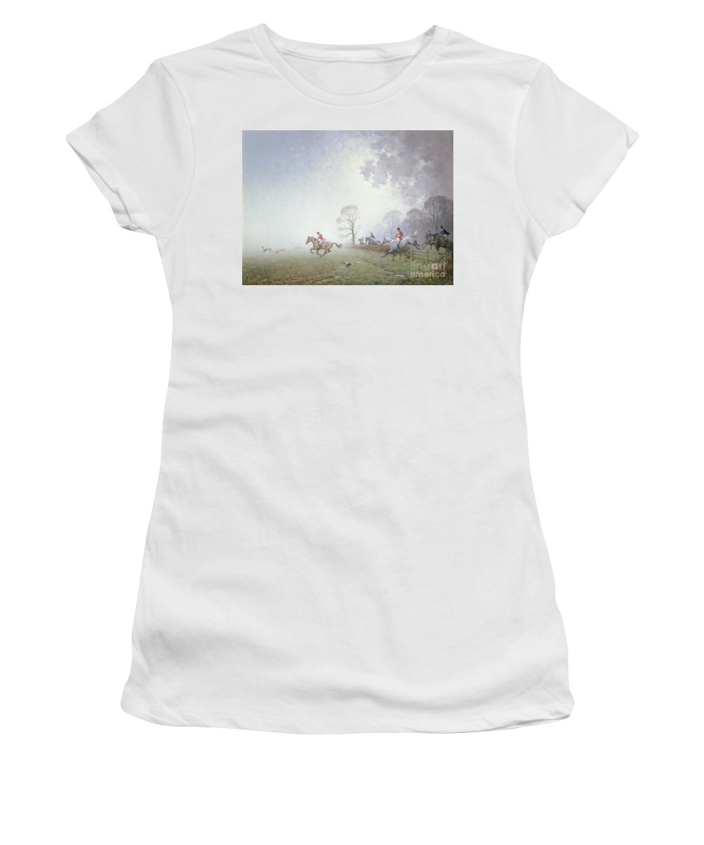 Blood Sport Women's T-Shirt featuring the painting Hunting Scene by Ninetta Butterworth