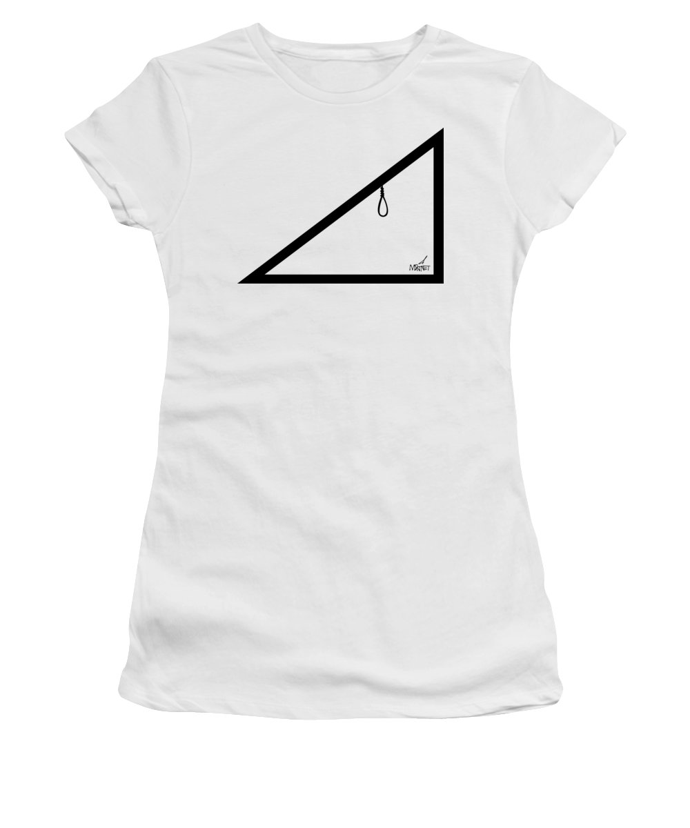 Geometry Women's T-Shirt featuring the digital art Hypotenoose Black by Mike Martinet