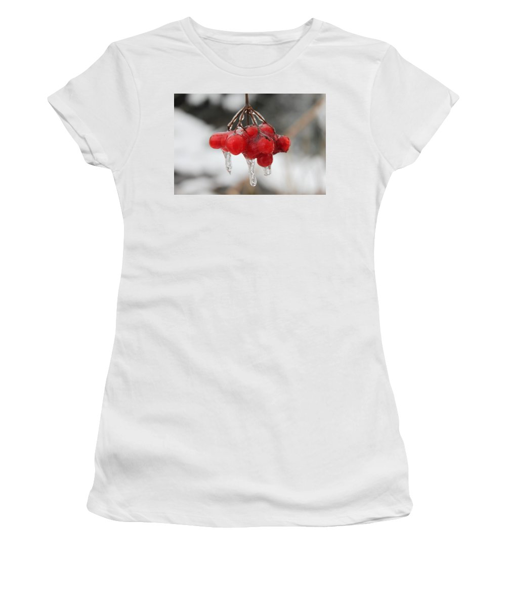 Ice Women's T-Shirt (Athletic Fit) featuring the photograph Ice Wrapped Berries by Lauri Novak