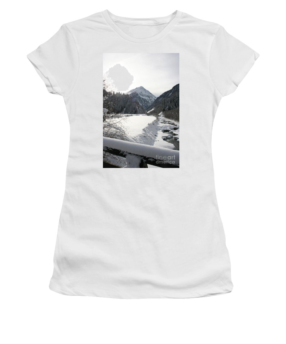 River Women's T-Shirt featuring the photograph Iced River by Christiane Schulze Art And Photography