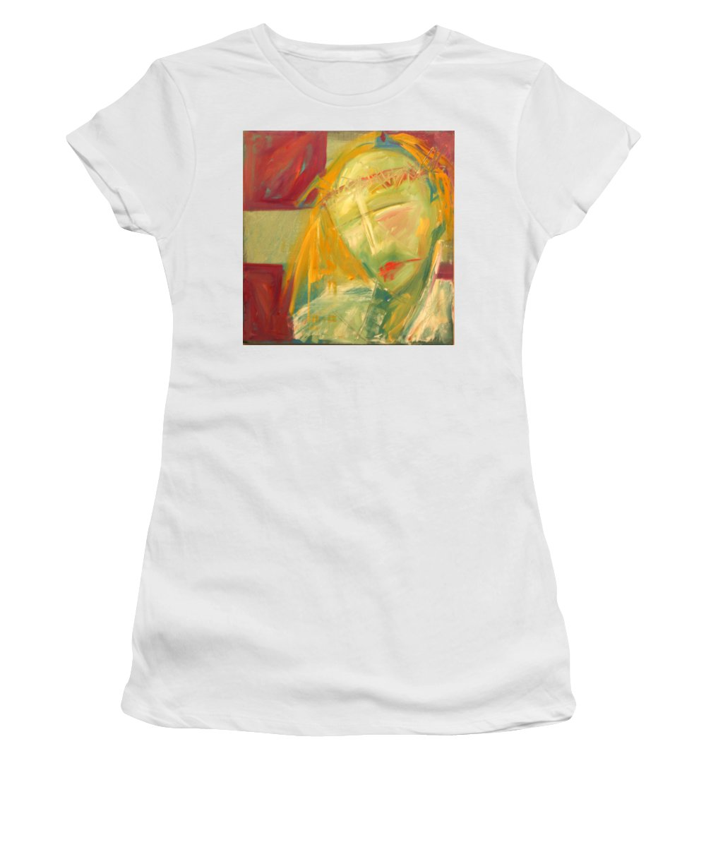 Christ Women's T-Shirt (Athletic Fit) featuring the greeting card Icon Number Ten by Tim Nyberg