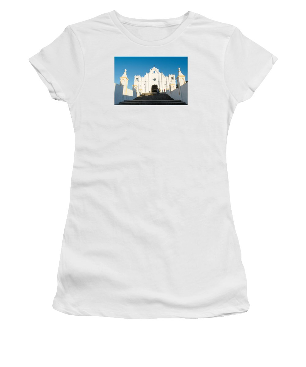Iglesia San Andres Apostol Women's T-Shirt (Athletic Fit) featuring the photograph Iglesia San Andres Apostol - Apaneca by Totto Ponce