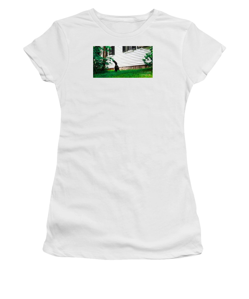 Cat Women's T-Shirt (Athletic Fit) featuring the photograph I'm Watching You by Marina McLain