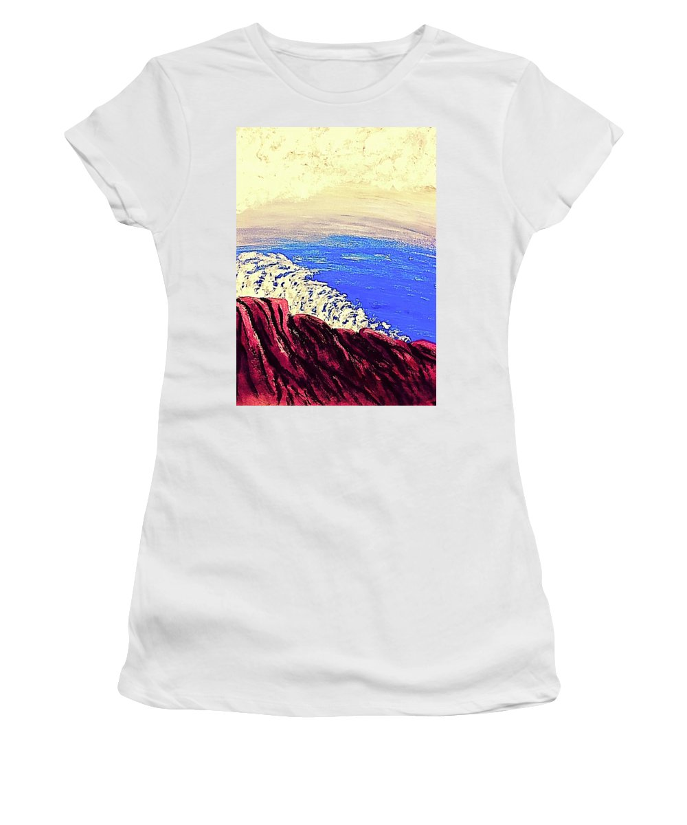 Ocean Rocks View Women's T-Shirt (Athletic Fit) featuring the painting Imagination Ocean View by Jary Murga