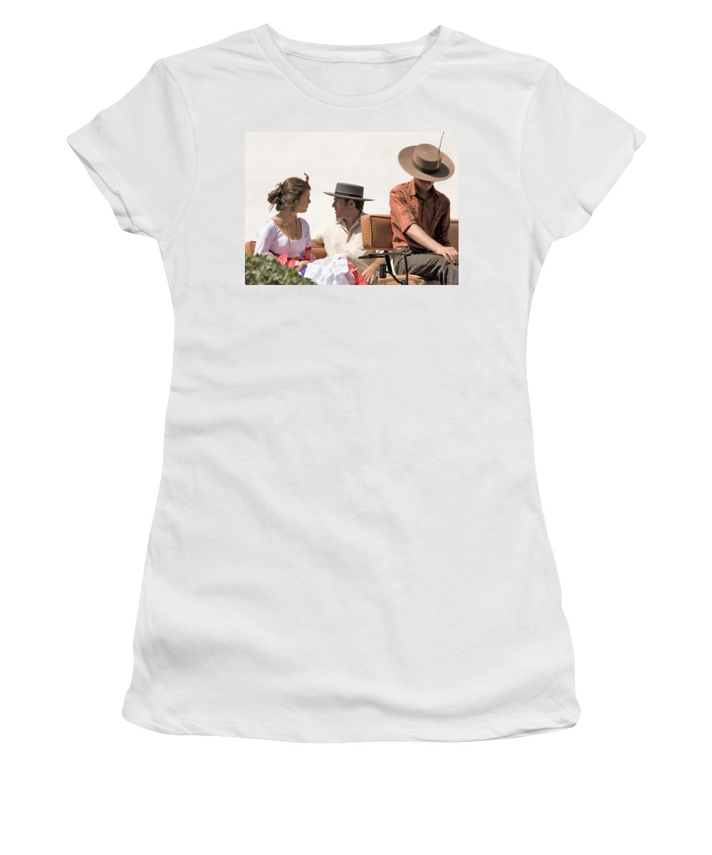Flamenco Women's T-Shirt (Athletic Fit) featuring the photograph In Flamenco Dress For The Bullfight by Mal Bray