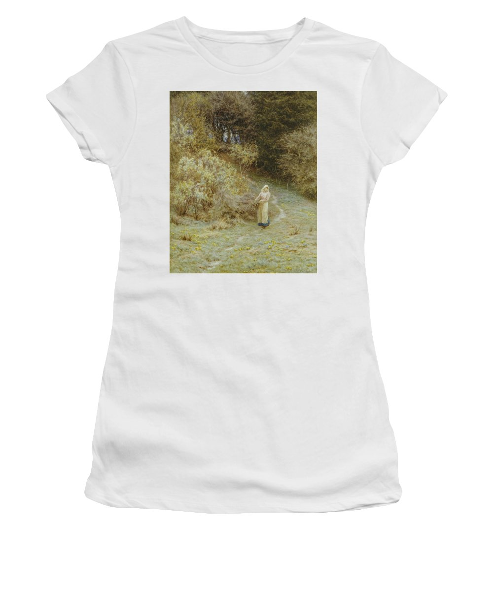 In The Primrose Wood Women's T-Shirt (Athletic Fit) featuring the painting In The Primrose Wood by Helen Allingham