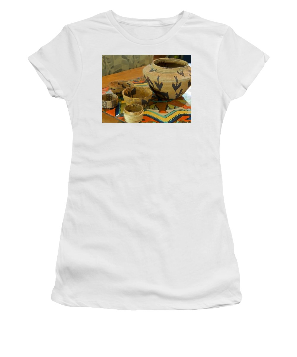 Basket Women's T-Shirt (Athletic Fit) featuring the photograph Indian Baskets 1 by Stephen Anderson