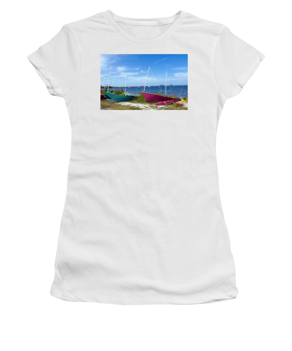 Sail; Sailing; Boat; Sailboat; Mast; Plywood; Homemade; Boy; Scouts; Fleet; Class; Dragon; Tiller; F Women's T-Shirt (Athletic Fit) featuring the photograph Indian River Lagoon On The Easr Coast Of Florida by Allan Hughes
