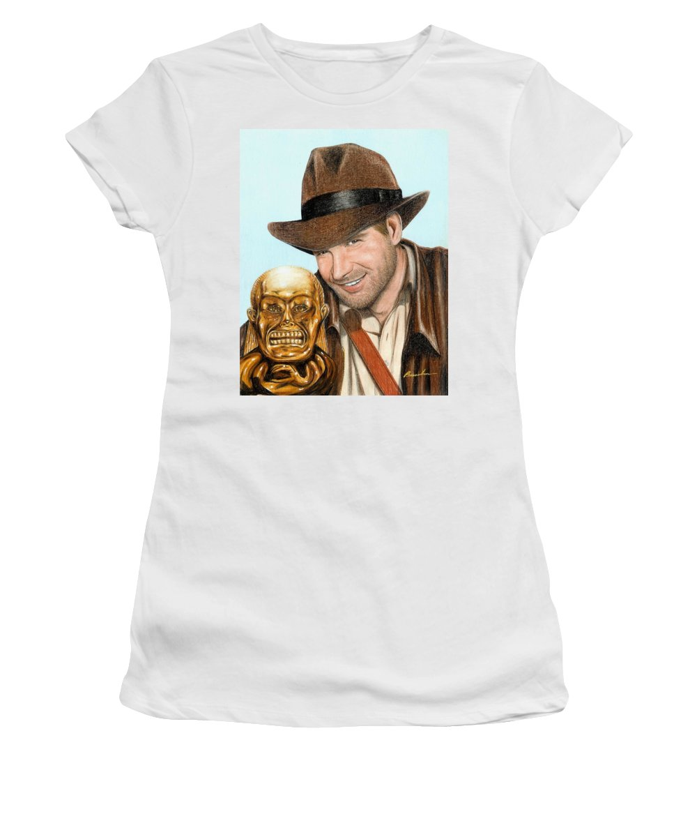 Raiders Of The Lost Ark Indiana Jones Bruce Lennon Art Harrison Ford Women's T-Shirt featuring the painting Indy by Bruce Lennon