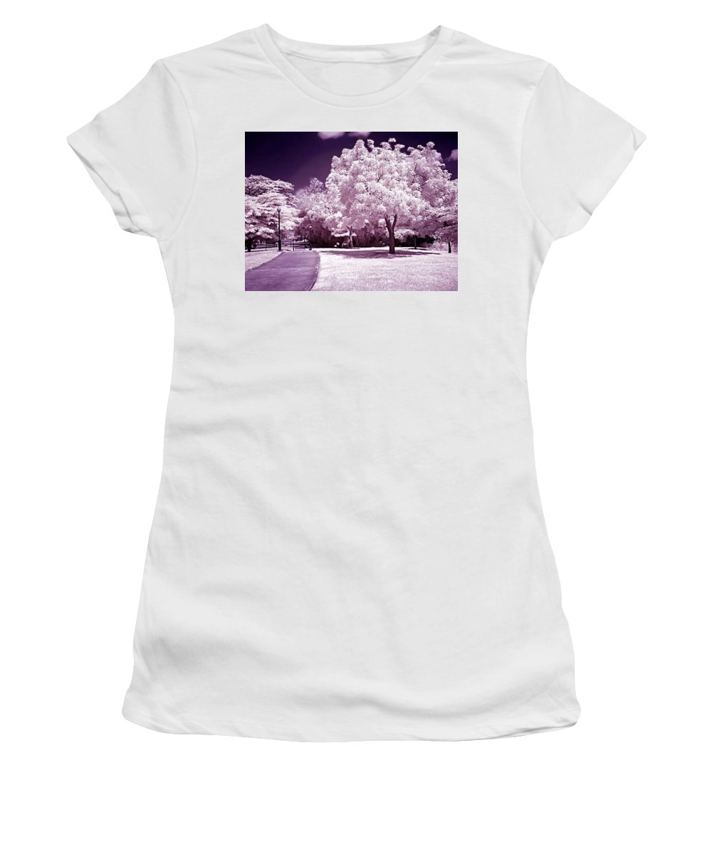 Infrared Women's T-Shirt (Athletic Fit) featuring the photograph Infrared Garden by Galeria Trompiz