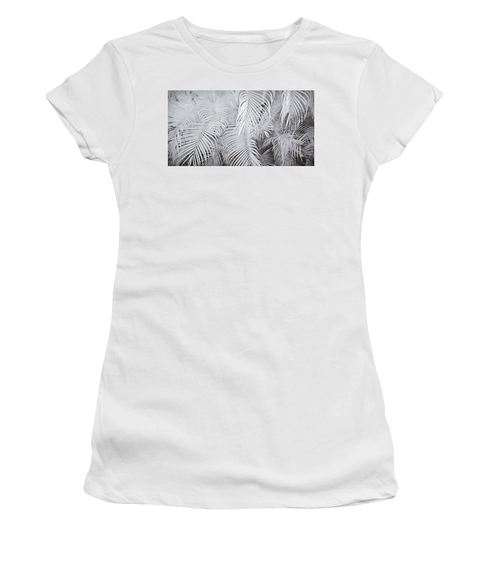 3scape Photos Women's T-Shirt (Athletic Fit) featuring the photograph Infrared Palm Abstract by Adam Romanowicz