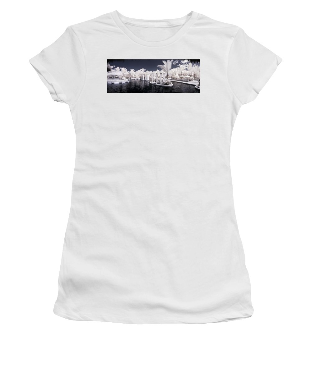 3scape Photos Women's T-Shirt (Athletic Fit) featuring the photograph Infrared Pool by Adam Romanowicz